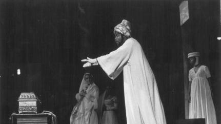 "In this 1962 photo provided by the Public Theater, James Earl Jones portrays the Prince of Morocco in the Shakespeare in the Park production of ""The Merchant of Venice,"" the first production at the Delacorte Theater in New York's Central Park, directed by Joseph Papp and Gladys Vaughan. This summer, The Public Theater is celebrating the 50th anniversary of the Delacorte, home of its free Shakespeare in the Park program _ a beloved staple for both actors and audience. (AP Photo/Public Theater, George E. Joseph)"